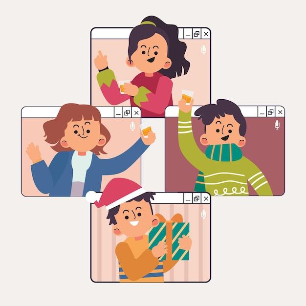 Online kerstviering Gratis Vector