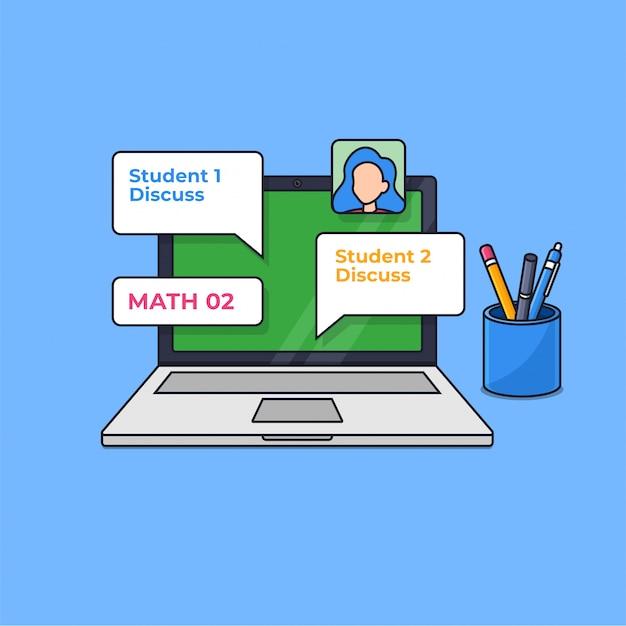 Online klasse digitaal leren modern onderwijs op de laptop scherm overzicht vectorillustratie Premium Vector