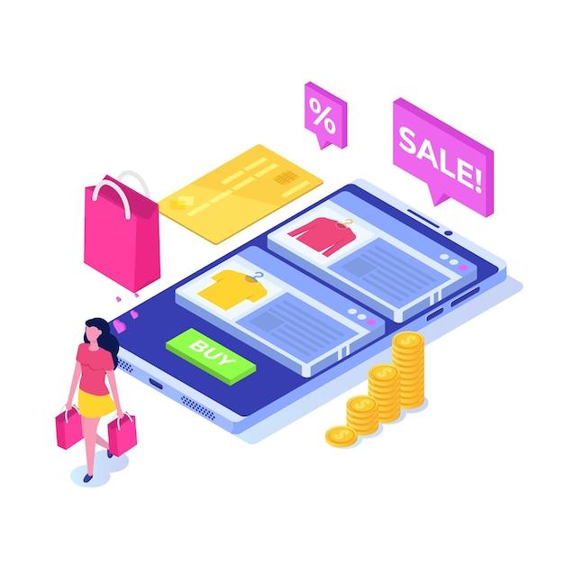 Online kleding kopen, e-commerce verkopen, digitale marketing. Premium Vector