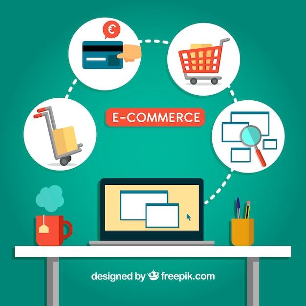 Online kopen in het kantoor Gratis Vector