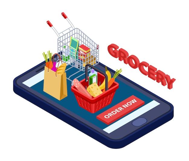 Online kruidenierswinkelconcept. vector mobiele app voor supermarkt met voedsel, groenten, fruit. app-bezorging, mobiele boodschappenservice, aanvraag om illustratie te kopen Premium Vector