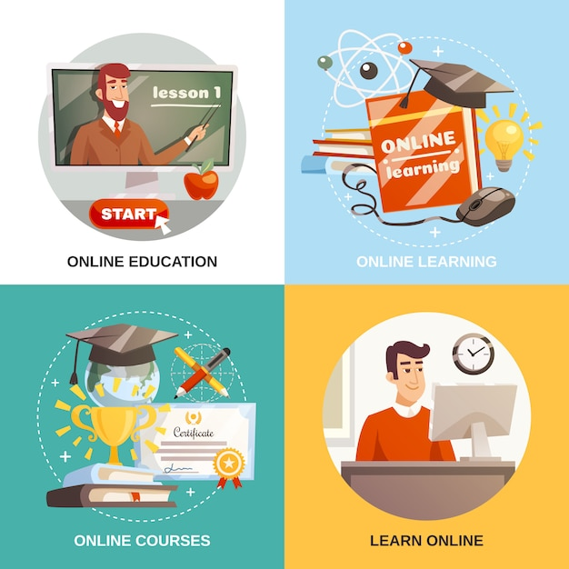 Online learning 2x2 design concept Gratis Vector