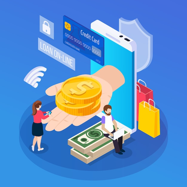 Online lenende isometrische samenstellingsklant met mobiel apparaat tijdens het krijgen van lening op blauw Gratis Vector