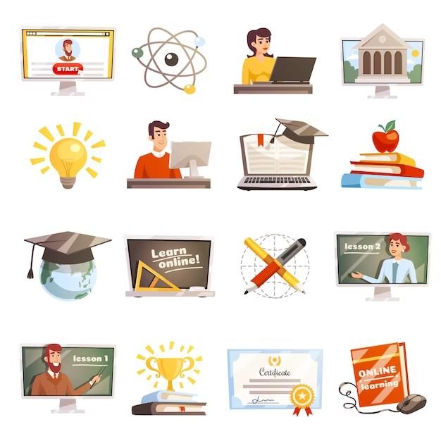 Online leren icons set Gratis Vector
