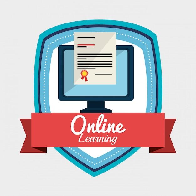 Online leren illustratie Gratis Vector