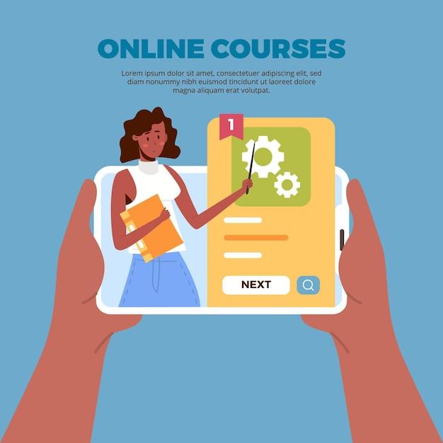Online leren met cursussen sjabloon Gratis Vector