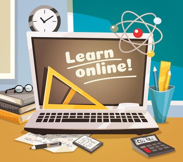 Online leren ontwerpconcept Gratis Vector