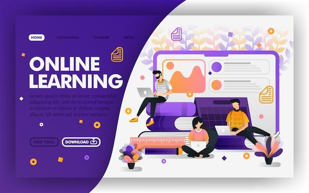 Online leren op afstand of e-learning Premium Vector