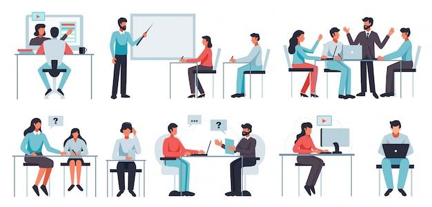 Online leren set met coaching en workshop symbolen platte geïsoleerde illustratie Gratis Vector