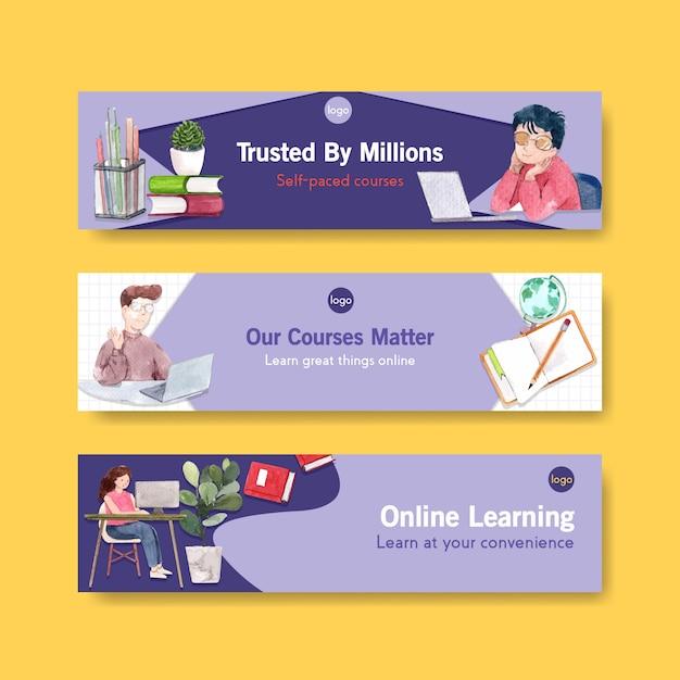 Online leren sjabloonontwerp voor website spandoek, adverteren aquarel Gratis Vector
