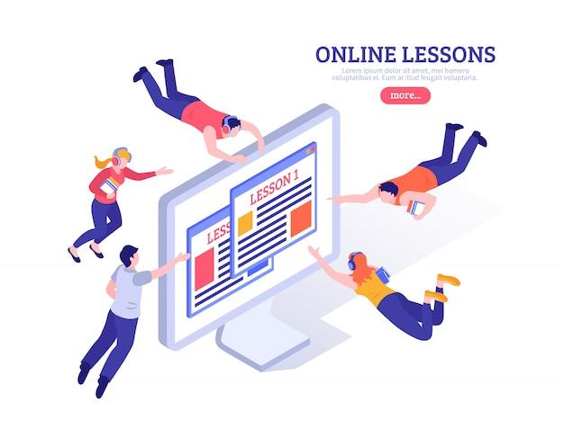 Online lessen met kleine mensen die rondvliegen op een groot pc-scherm met een app voor isometrische afstandsstudie Gratis Vector