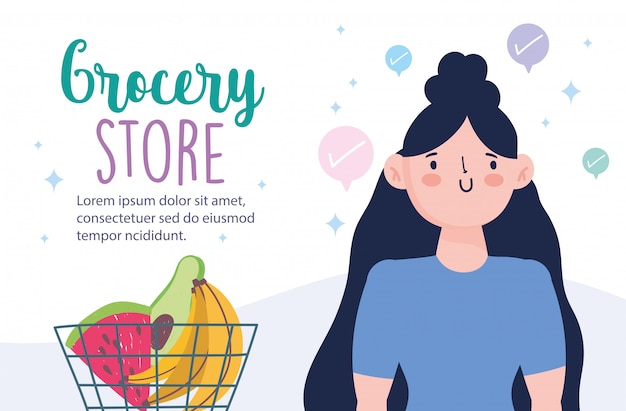 Online markt, vrouw met winkelmandje en fruit, voedselbezorging in supermarkt illustratie Premium Vector