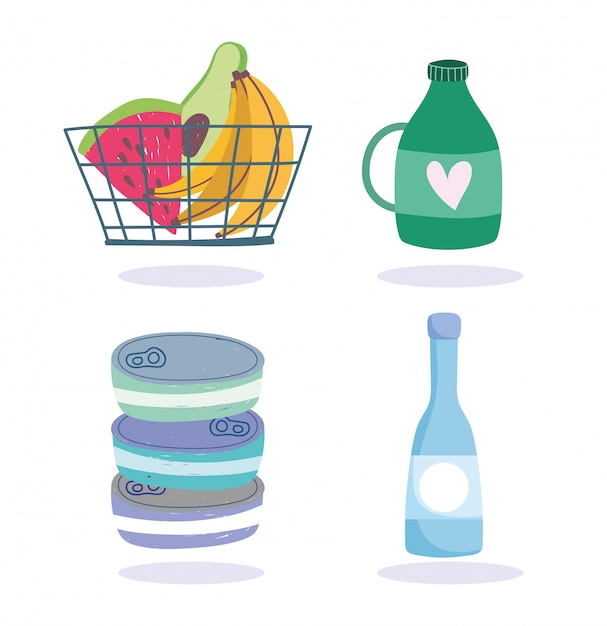 Online markt, winkelwagentje met fruit en producten levering van levensmiddelen in de supermarkt illustratie Premium Vector