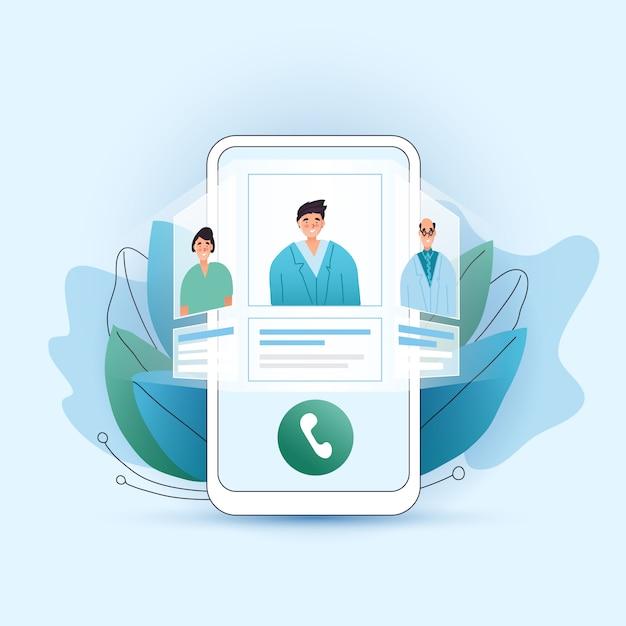 Online medisch consult plat concept. kies uw arts, therapeut in uw smartphone. telefoonscherm met gekozen therapeut en online sessie. online medisch advies telegeneeskunde. Premium Vector