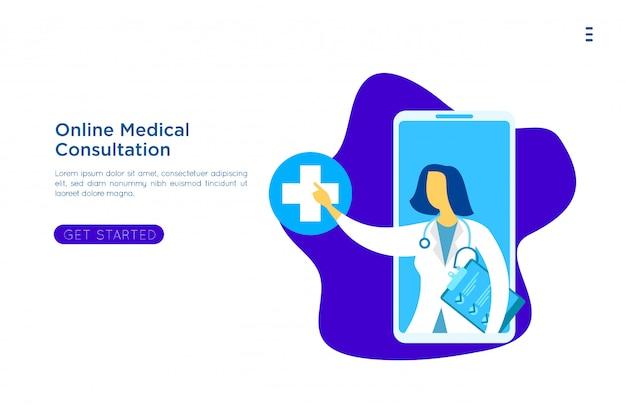 Online medisch onderwijs illustratie Premium Vector