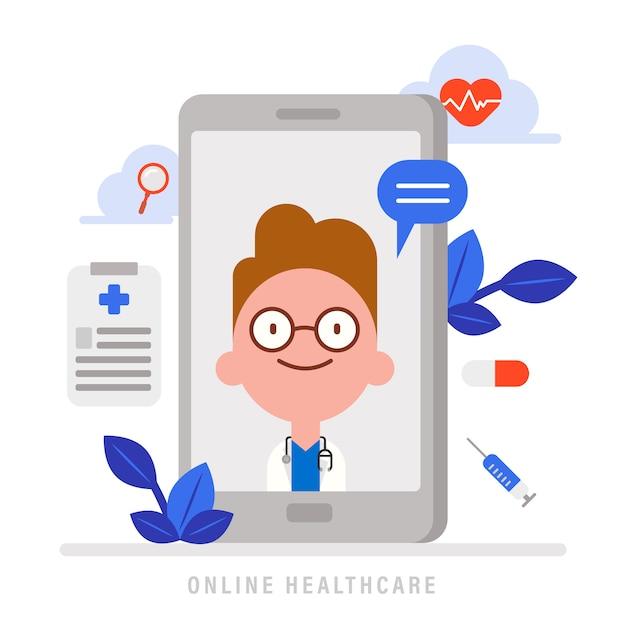 Online medische gezondheidszorg concept illustratie. medisch advies van arts op smartphone. platte ontwerp stripfiguur met medische pictogrammen. Premium Vector