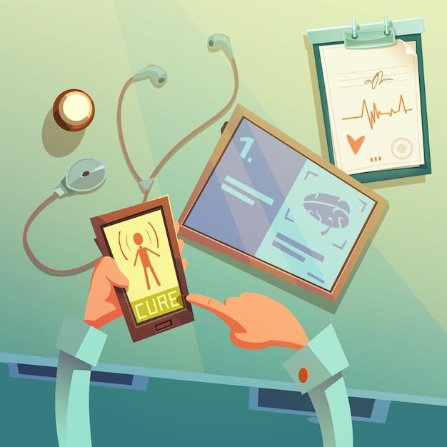 Online medische hulp cartoon achtergrond Gratis Vector