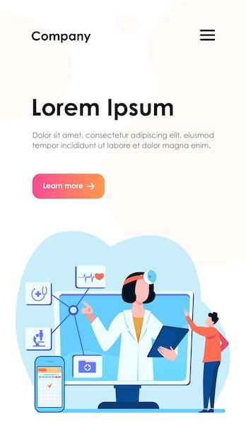 Online medische hulp vectorillustratie. man met smartphone-app voor raadpleging van arts. mannelijke patiënt chatten met arts op internet Gratis Vector