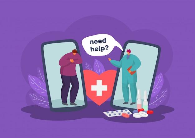 Online medische zorg en diagnose via mobiele telefoon app concept illustratie. Premium Vector