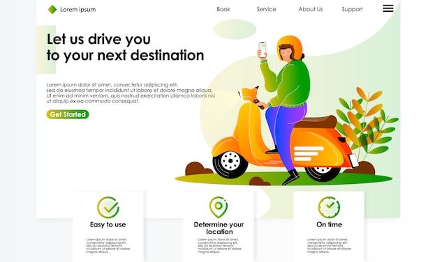 Online mobiele applicatie bestellen motor service afbeelding voor de landing page Premium Vector
