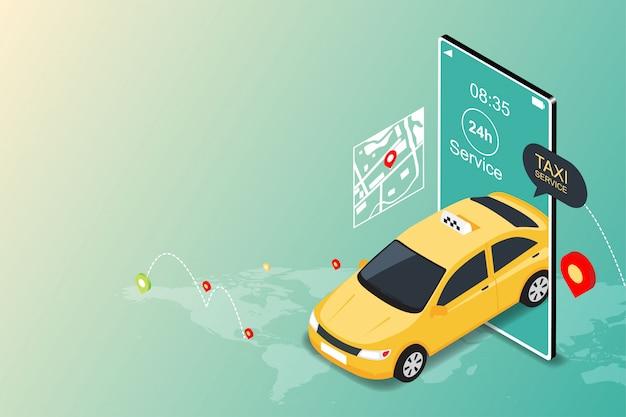 Online mobiele taxiservice-app. taxi in mobiel en navigatie of stadsplattegrond Premium Vector
