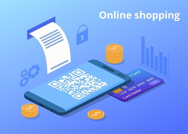 Online mobiele telefoon winkelen illustratie Gratis Vector