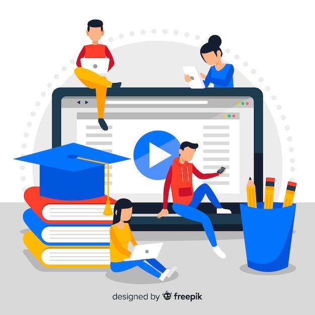 Online onderwijs achtergrond Gratis Vector
