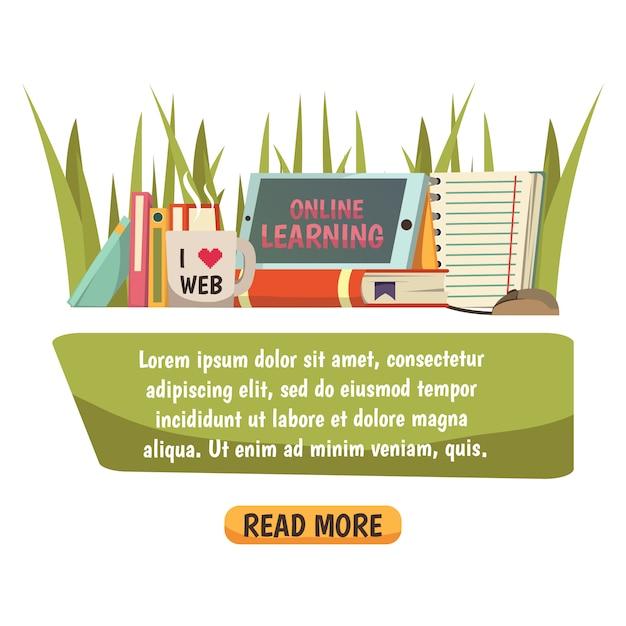 Online onderwijs banner Gratis Vector