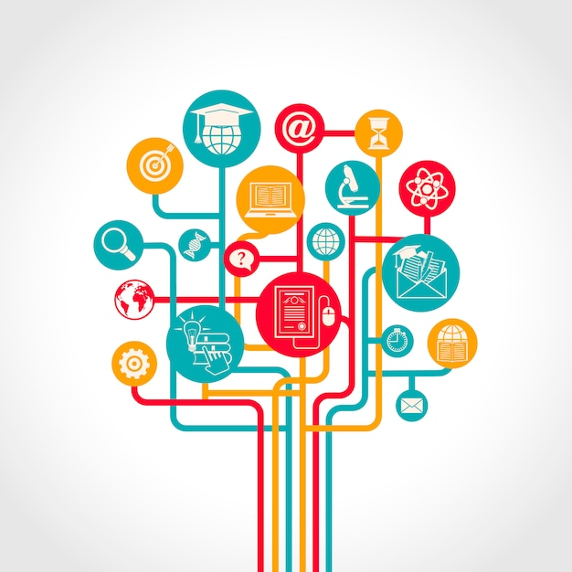 Online onderwijs boom concept met e-learning opleiding middelen pictogrammen vector illustratie Gratis Vector