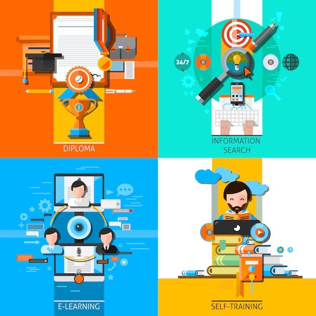 Online onderwijs concept elementen instellen Gratis Vector