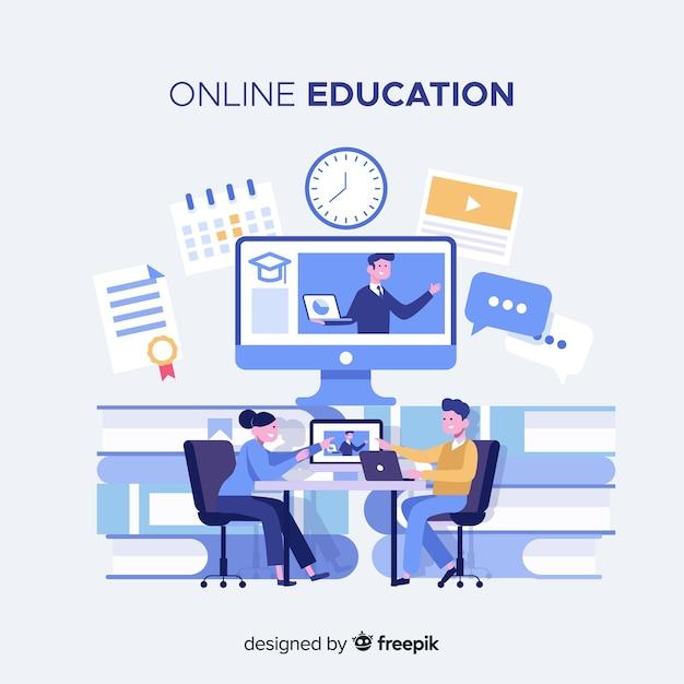 Online onderwijs concept Gratis Vector