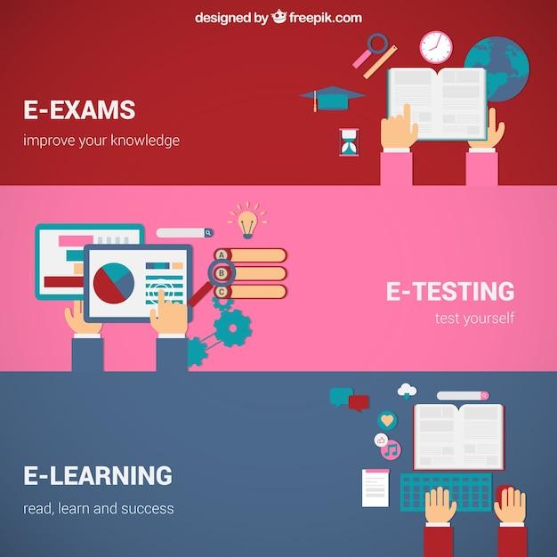 Online onderwijs concepten Gratis Vector
