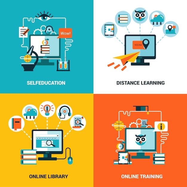 Online onderwijs conceptenset Gratis Vector