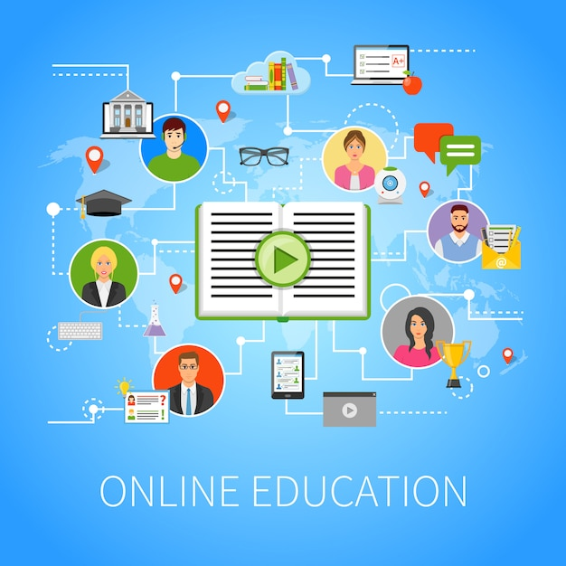 Online-onderwijs flat infographic webpagina-samenstelling Gratis Vector