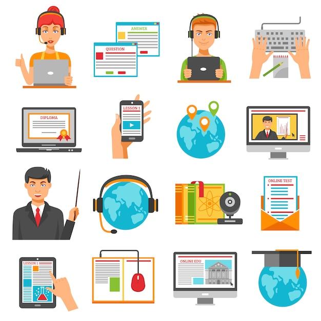 Online onderwijs icon set Gratis Vector