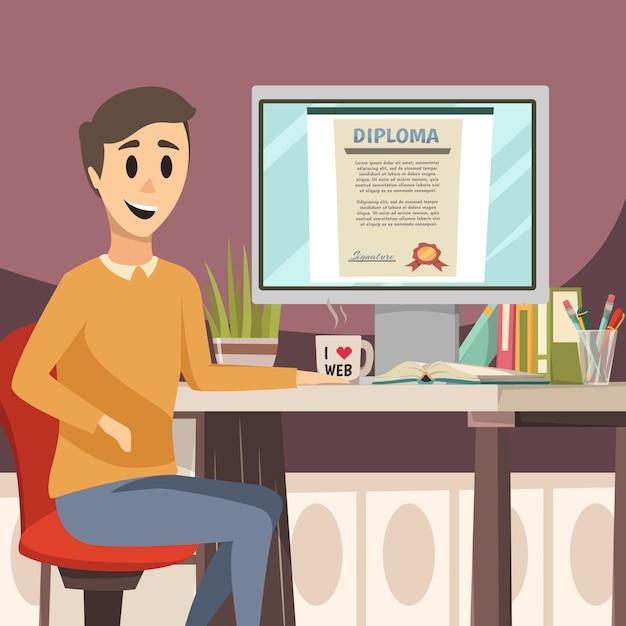 Online onderwijs illustratie Gratis Vector