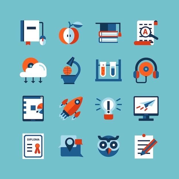 Online onderwijs kleuren icon set Gratis Vector
