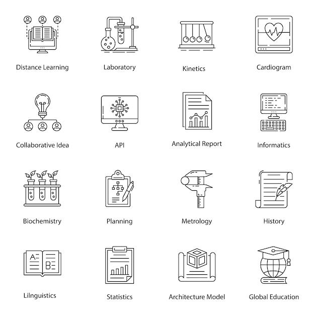 Online onderwijs lijn iconen pack Premium Vector