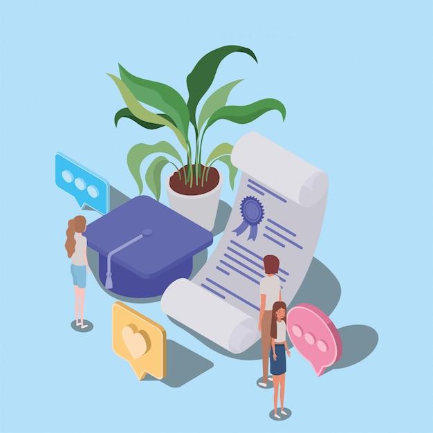 Online onderwijs met diploma en mini-mensen Premium Vector