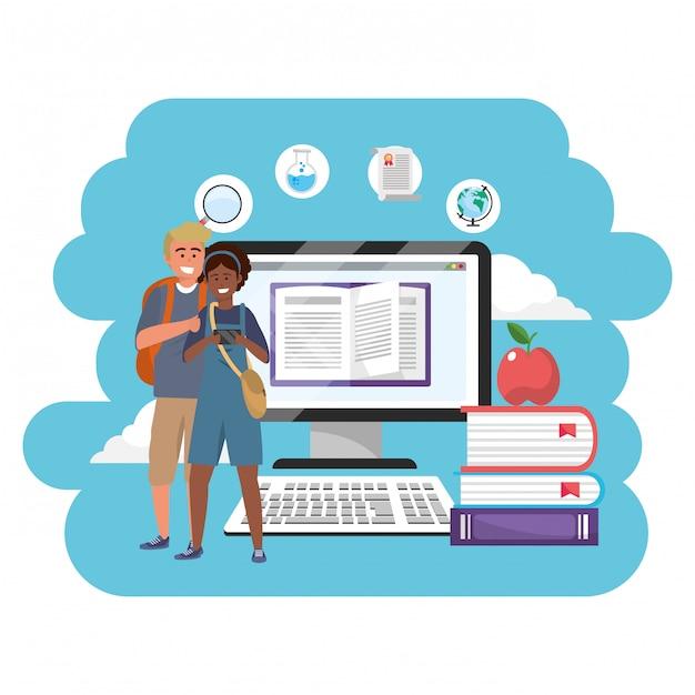 Online onderwijs millennial studenten Premium Vector