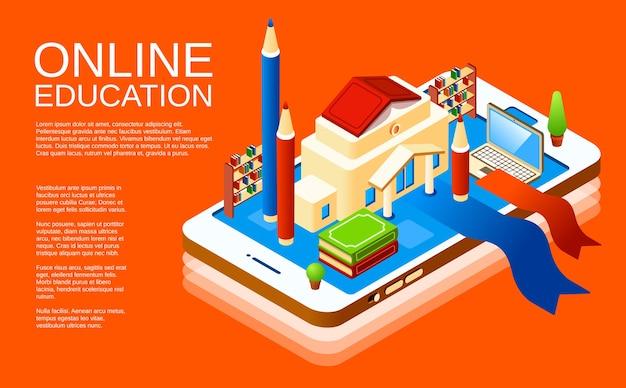 Online onderwijs mobiele applicatie poster ontwerpsjabloon op oranje achtergrond Gratis Vector