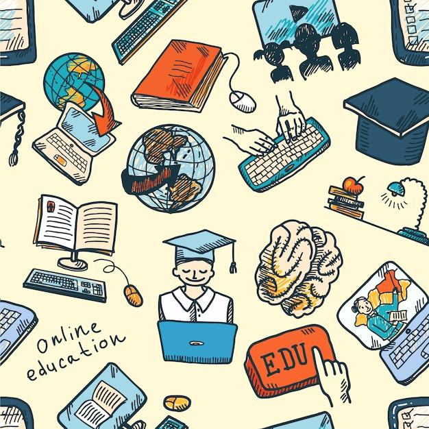 Online onderwijs naadloos patroon Gratis Vector