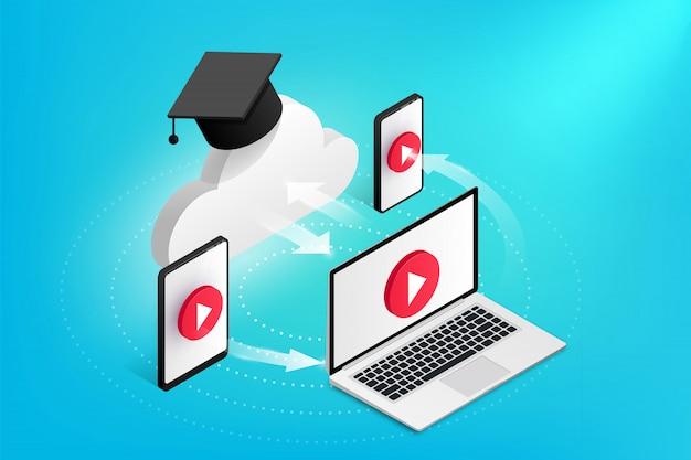 Online onderwijs ontwerpconcept. isometrische wolk met afstudeerkap communiceert met laptop, smartphone, tablet. flat stijlicoon. e-learning illustratie Premium Vector