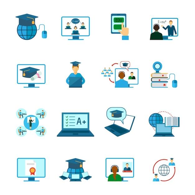 Online onderwijs pictogram plat Gratis Vector