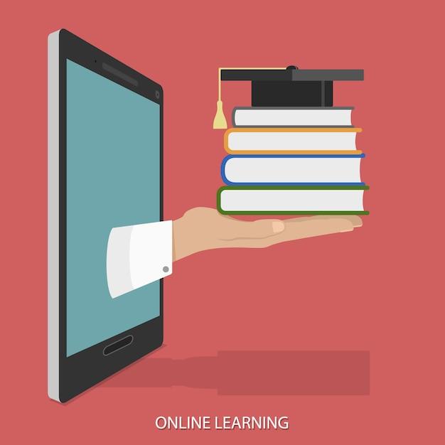 Online onderwijs plat isometrisch concept. Premium Vector