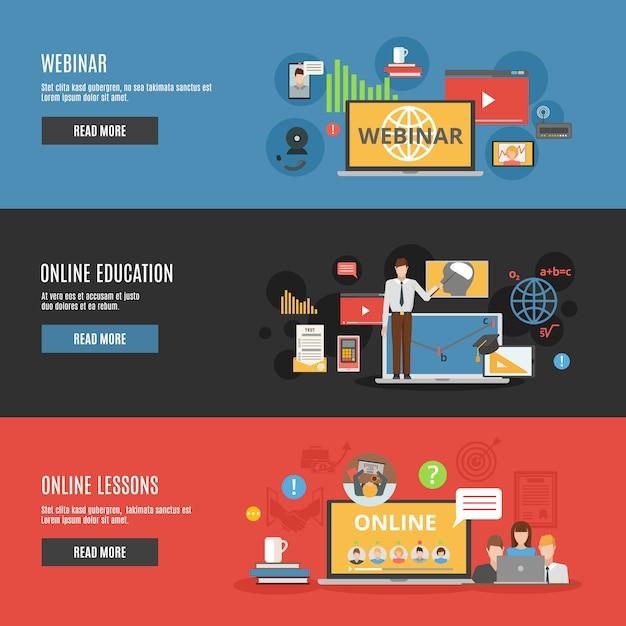 Online onderwijs platte horizontale banners Gratis Vector