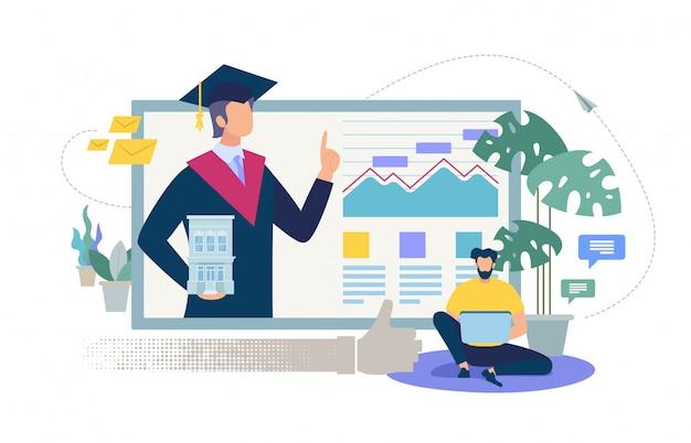 Online onderwijs service platte vector concept Premium Vector