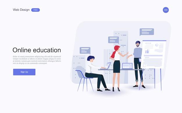 Online onderwijs, training en cursussen, leren. Premium Vector