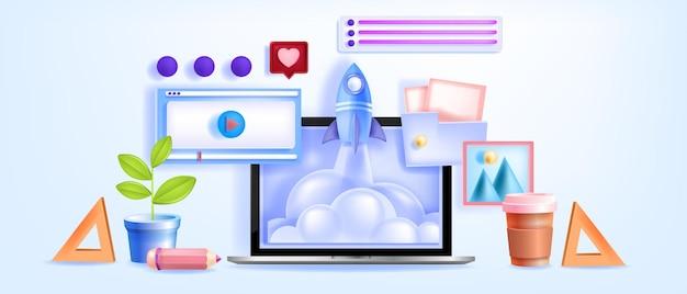 Online onderwijs, videoconferentie, leerwebinars, tutorials met laptopscherm Premium Vector