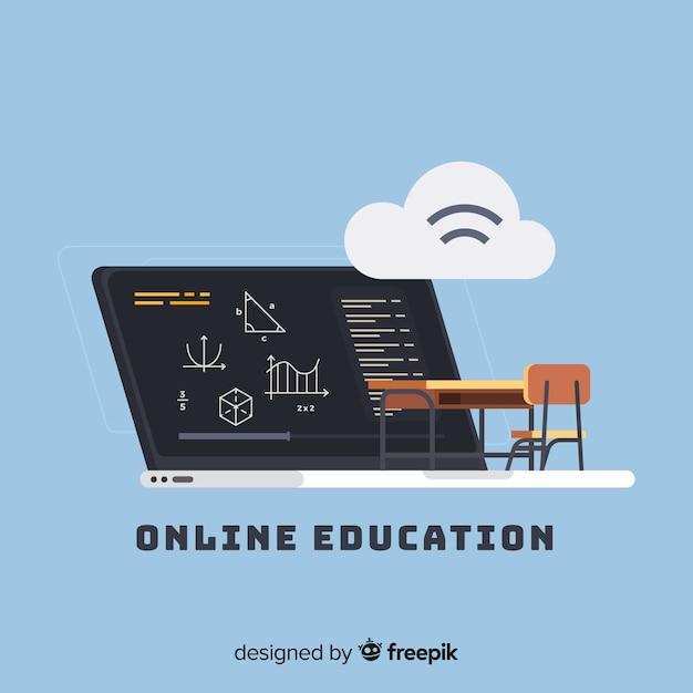 Online onderwijs vlakke achtergrond Gratis Vector